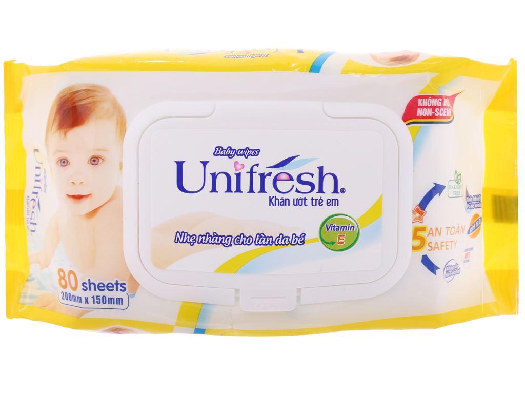 Khăn ướt em bé Unifresh không mùi gói 80 miếng 1