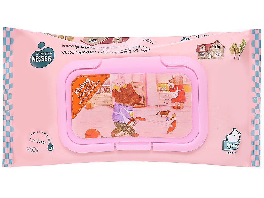 Khăn ướt em bé Wesser nắp hồng không mùi gói 80 miếng 1