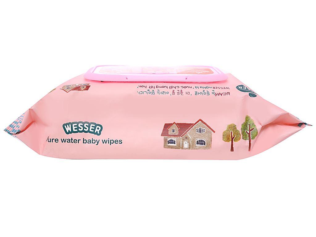 Khăn ướt em bé Wesser nắp hồng không mùi gói 80 miếng 3