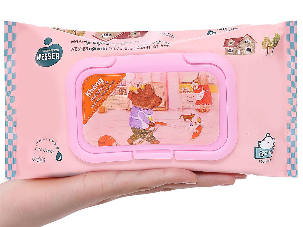 Khăn ướt em bé Wesser nắp hồng không mùi gói 80 miếng 4