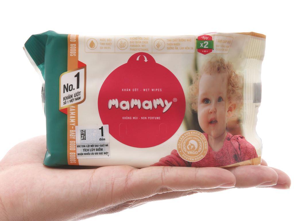 Khăn ướt em bé Mamamy không mùi gói 30 miếng 6