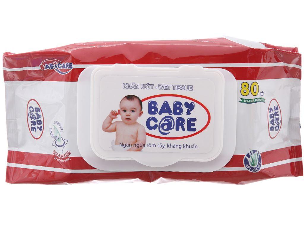 Khăn ướt em bé Baby Care không mùi gói 80 miếng 1