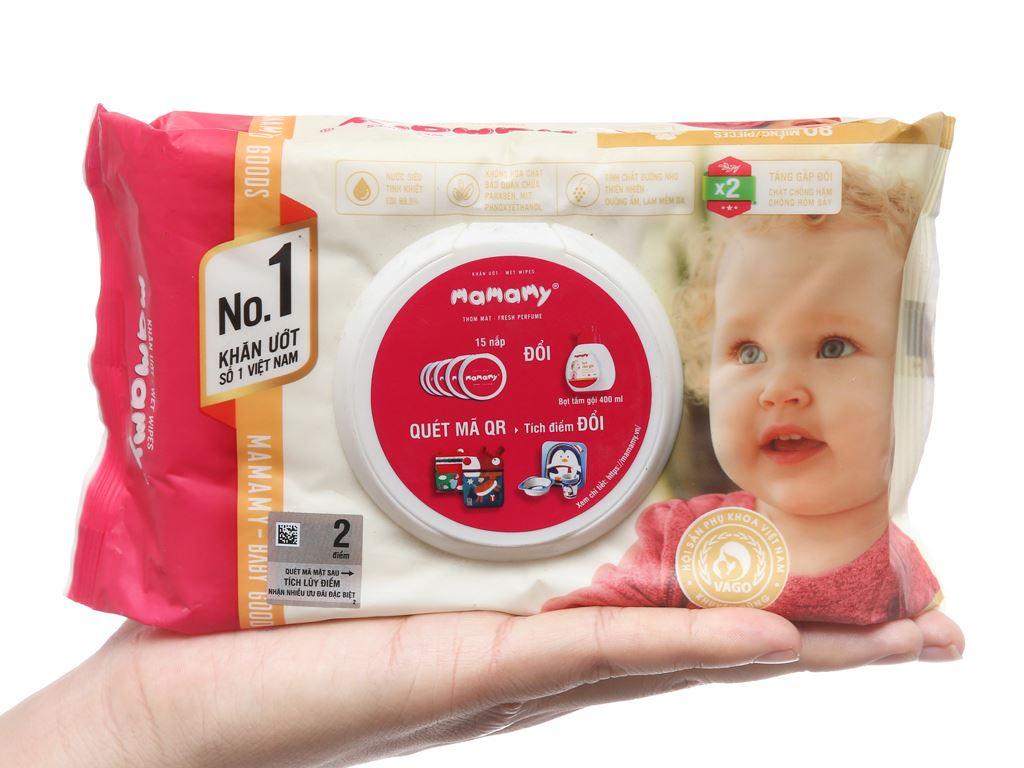 Khăn ướt em bé Mamamy chống hăm hương thơm mát gói 80 miếng 4