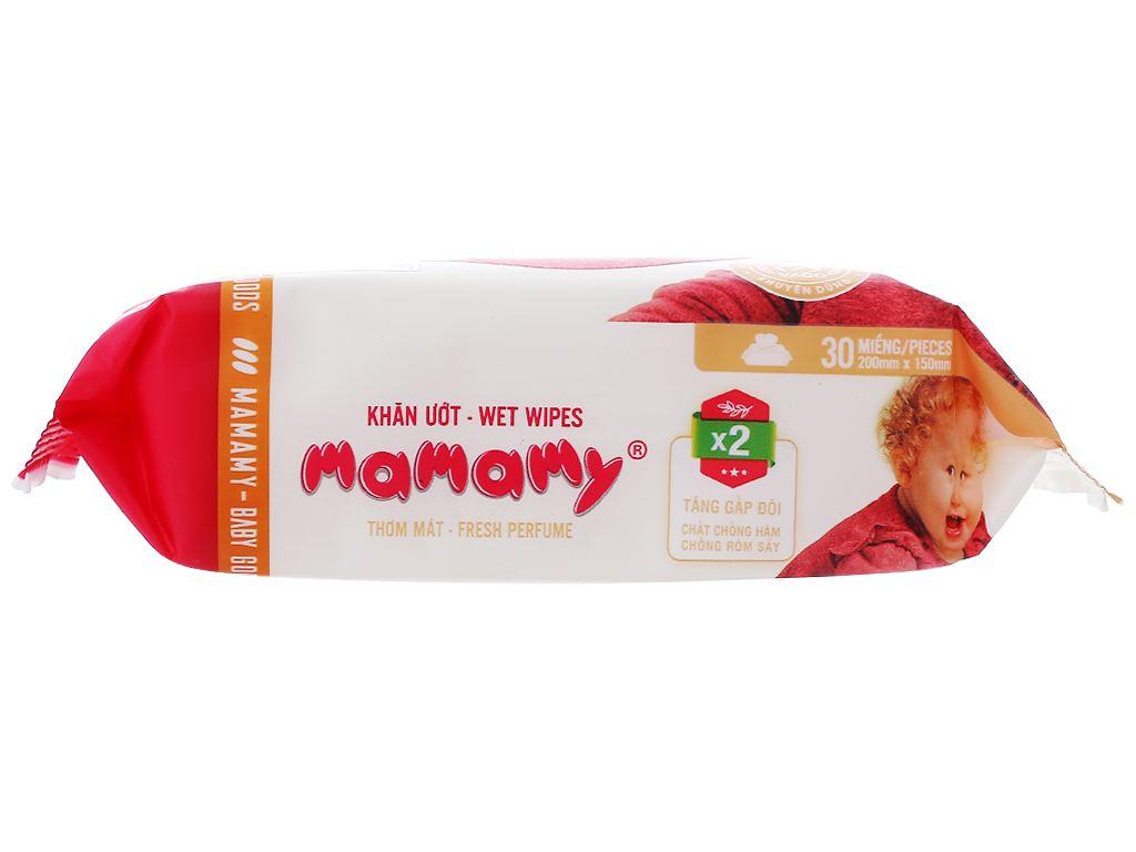 Khăn ướt em bé Mamamy hương thơm mát gói 30 miếng 3