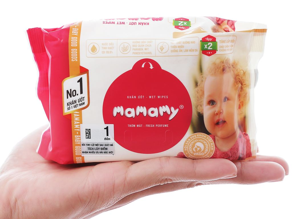 Khăn ướt em bé Mamamy hương thơm mát gói 30 miếng 4