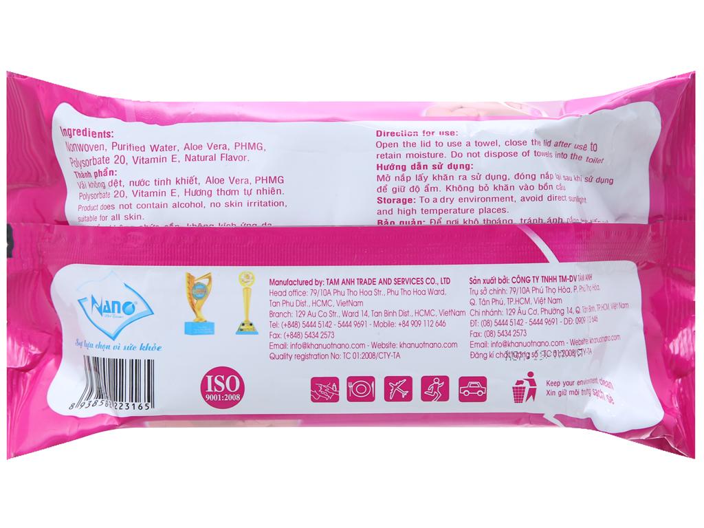 Khăn ướt em bé Nano Baby Wipes hương tự nhiên gói 80 miếng 3