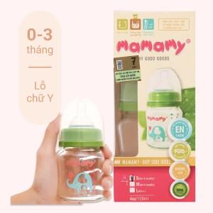 Bình sữa thủy tinh cổ rộng Mamamy màu xanh 120ml giao màu và size ngẫu nhiên dành cho bé 0 - 3 tháng