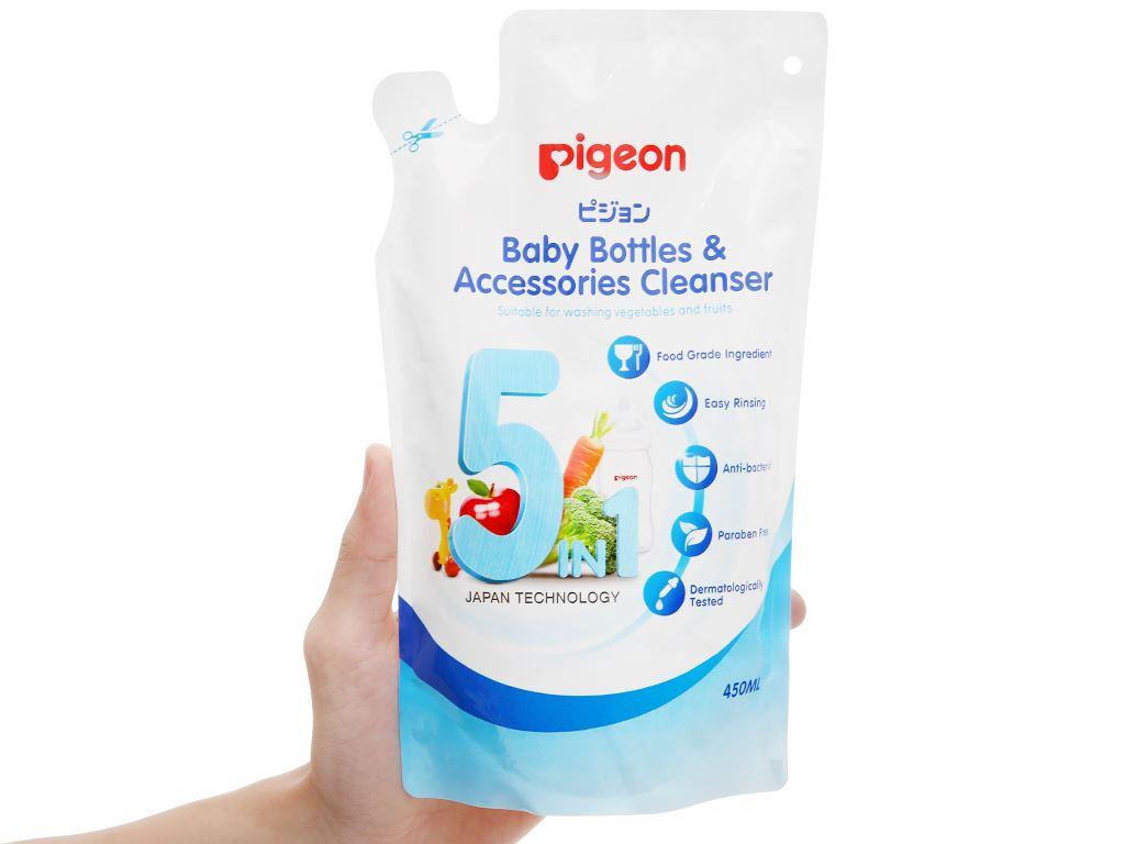 Dung dịch rửa bình sữa & rau củ quả Pigeon 450ml 4