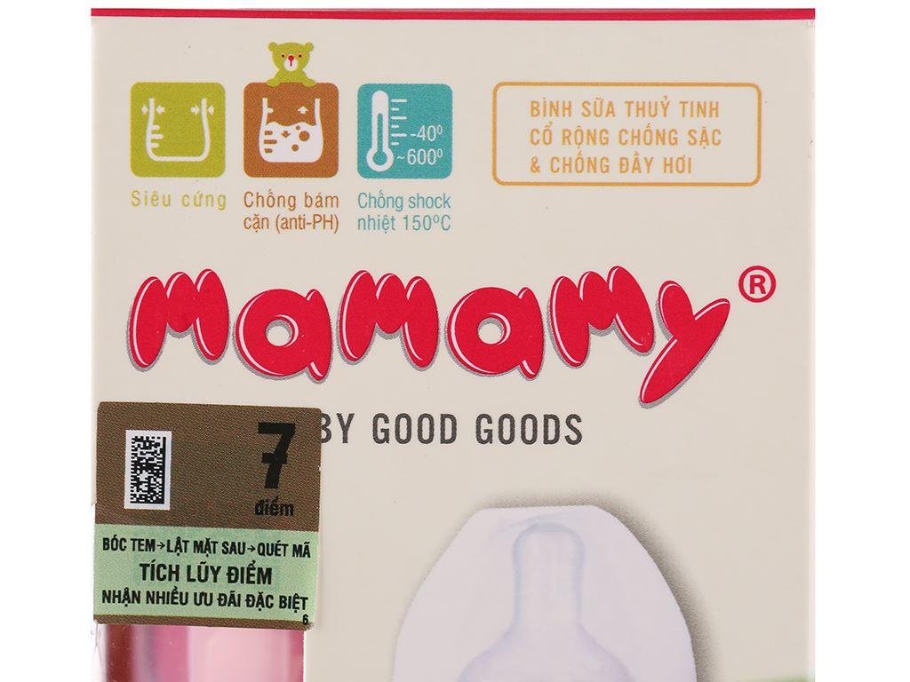 Bình sữa thủy tinh cổ rộng Mamamy màu hồng 120ml (giao màu ngẫu nhiên) 14