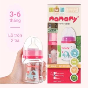 Bình sữa thủy tinh cổ rộng Mamamy màu hồng 120ml (giao màu ngẫu nhiên)