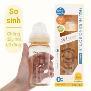 Bình sữa ppsu Piyo Piyo Chống đầy hơi cổ rộng 240ml dành cho bé