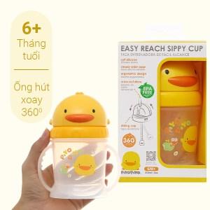 Bình tập uống Piyo Piyo có ống hút 360 độ PY830507 250ml dành cho bé trên 6 tháng