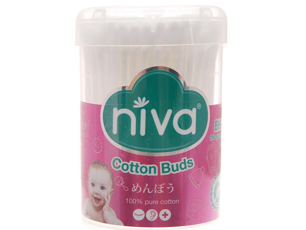 Bông ráy tai cho bé Niva đầu tròn hộp 150 cây 1
