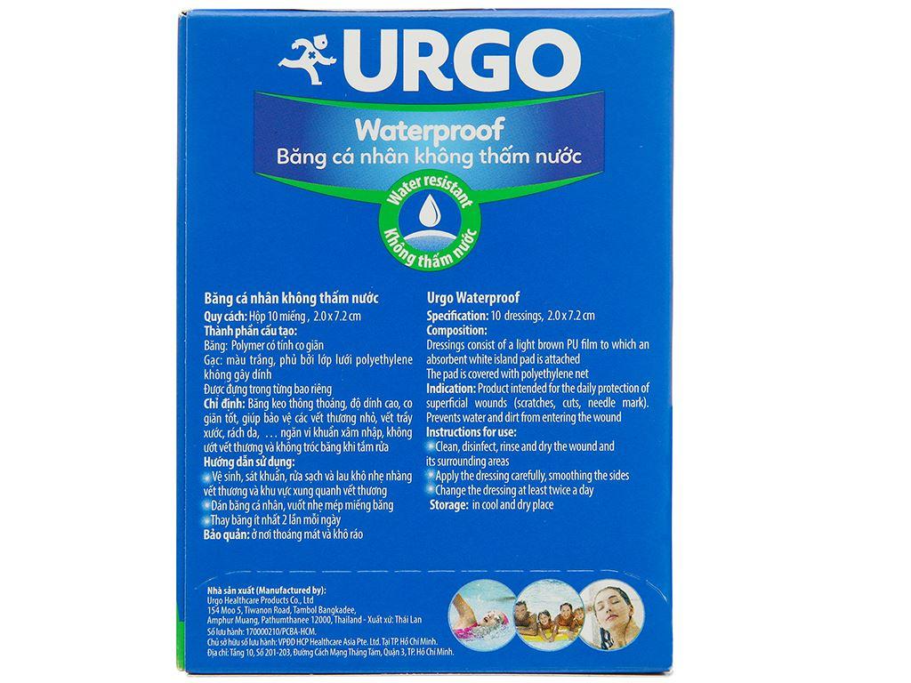 Băng cá nhân Urgo Waterproof chống thấm 10 miếng 2 x 7.2 cm 2