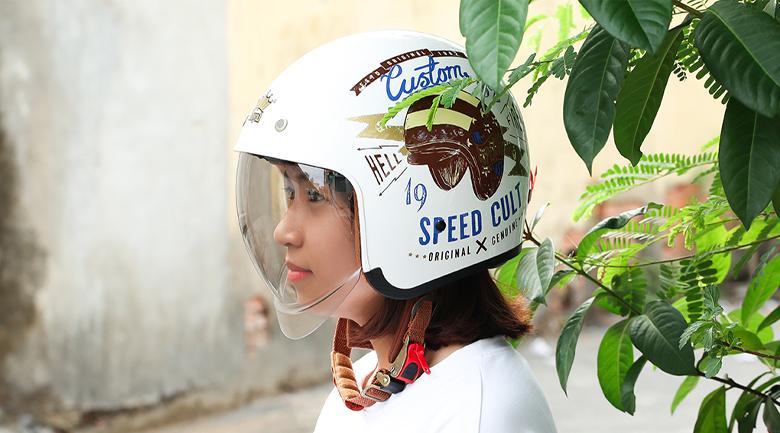Kính mũ - Mũ bảo hiểm 3/4 đầu có kính size XL Royal MT-139 Trắng