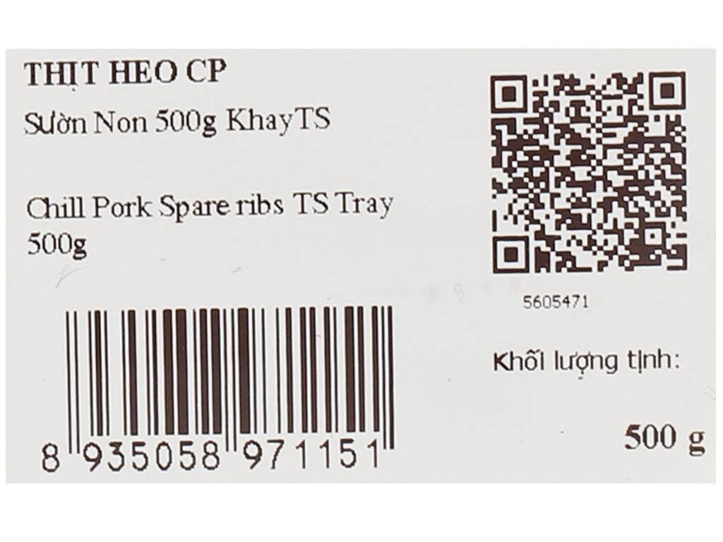 Sườn non heo C.P khay 500g 8