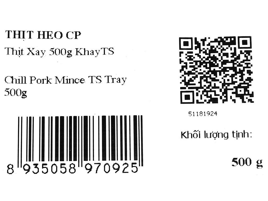 Thịt heo xay C.P khay 500g 8