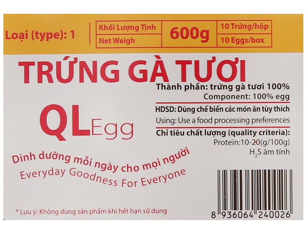 Hộp 10 trứng gà tươi QLEgg 6