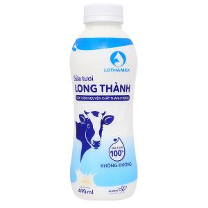 Sữa tươi thanh trùng không đường Lothamilk chai 490ml