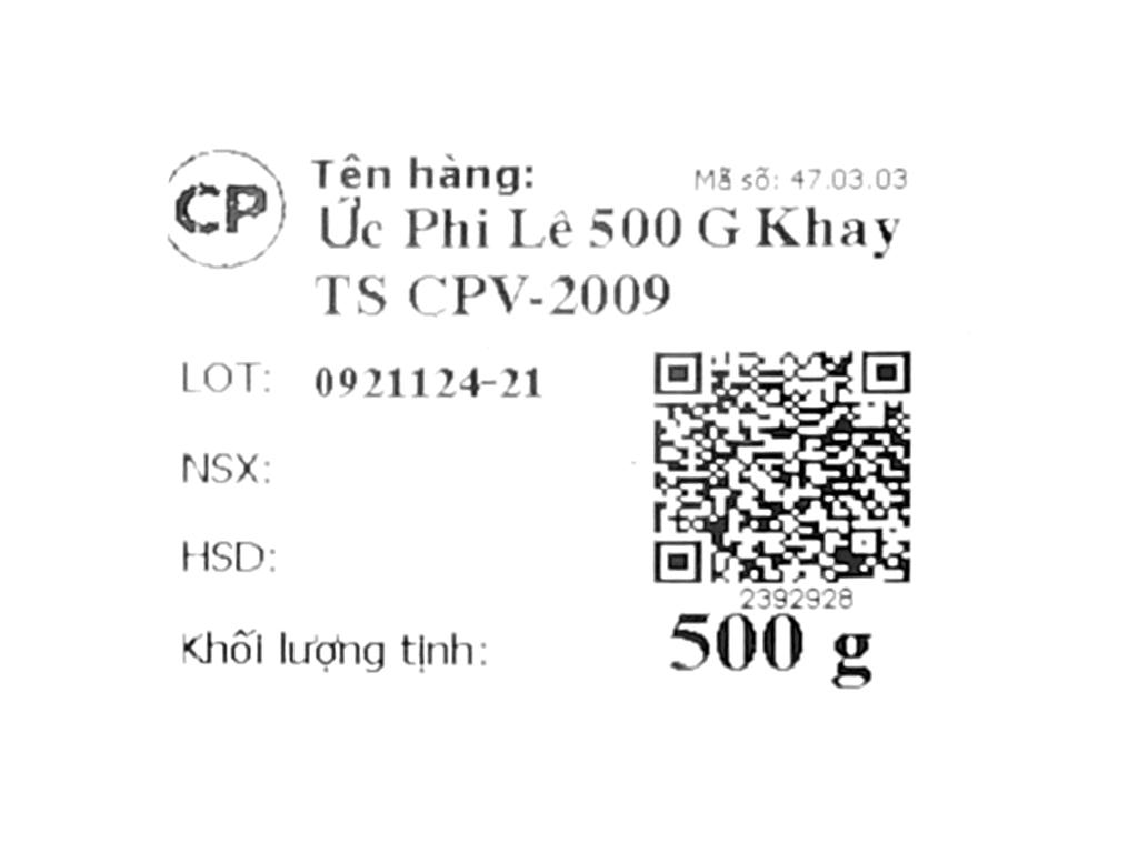 Ức gà tươi phi lê C.P khay 500g 7