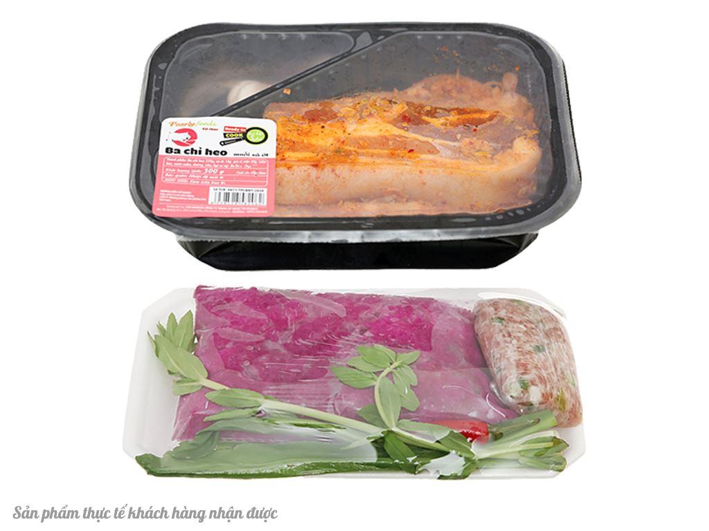 Combo thịt ba chỉ muối sả ớt và canh khoai mỡ thịt xay 2