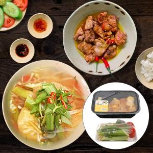 Combo thịt gà kho gừng và canh chua (không cá)