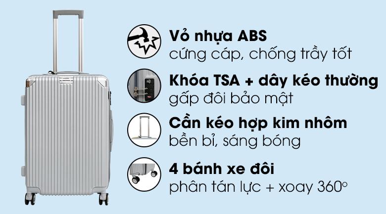 Vali nhựa 24 inch Hùng Phát 697 (Ghi)