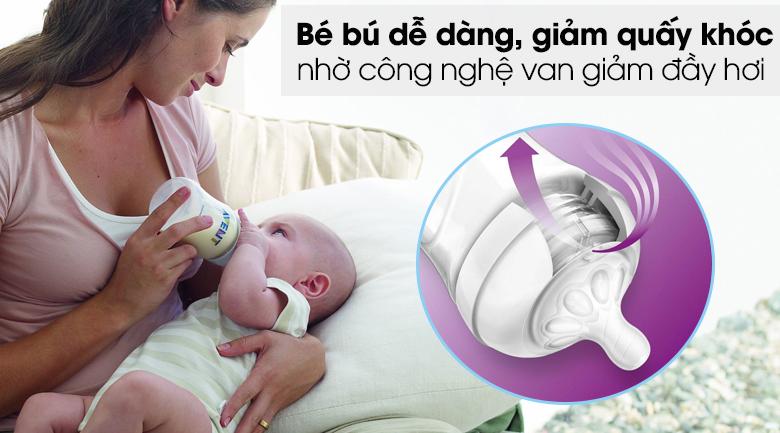 Núm ti silicone Philips Avent cho trẻ sơ sinh SCF651/23 - Công nghệ van giảm đầy hơi độc đáo