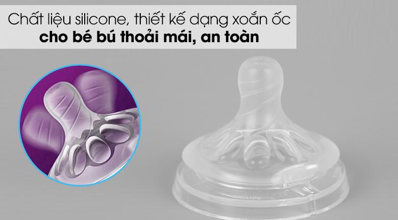 Núm ti silicone Philips Avent cho trẻ sơ sinh SCF651/23 - Chất liệu silicone nhẵn mịn