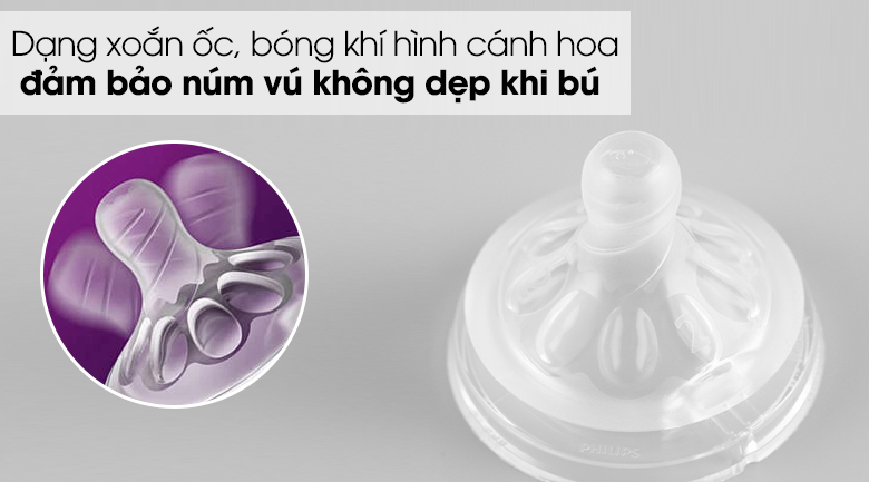 Núm ti silicone Philips Avent cho trẻ từ 1 tháng tuổi SCF652/23 - Dạng xoắn ốc kết hợp với bóng khí hình cánh hoa