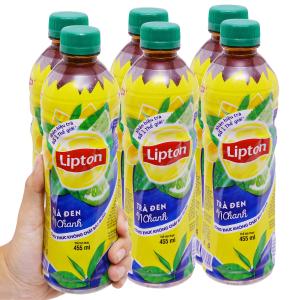 6 chai trà đen Lipton vị chanh 455ml