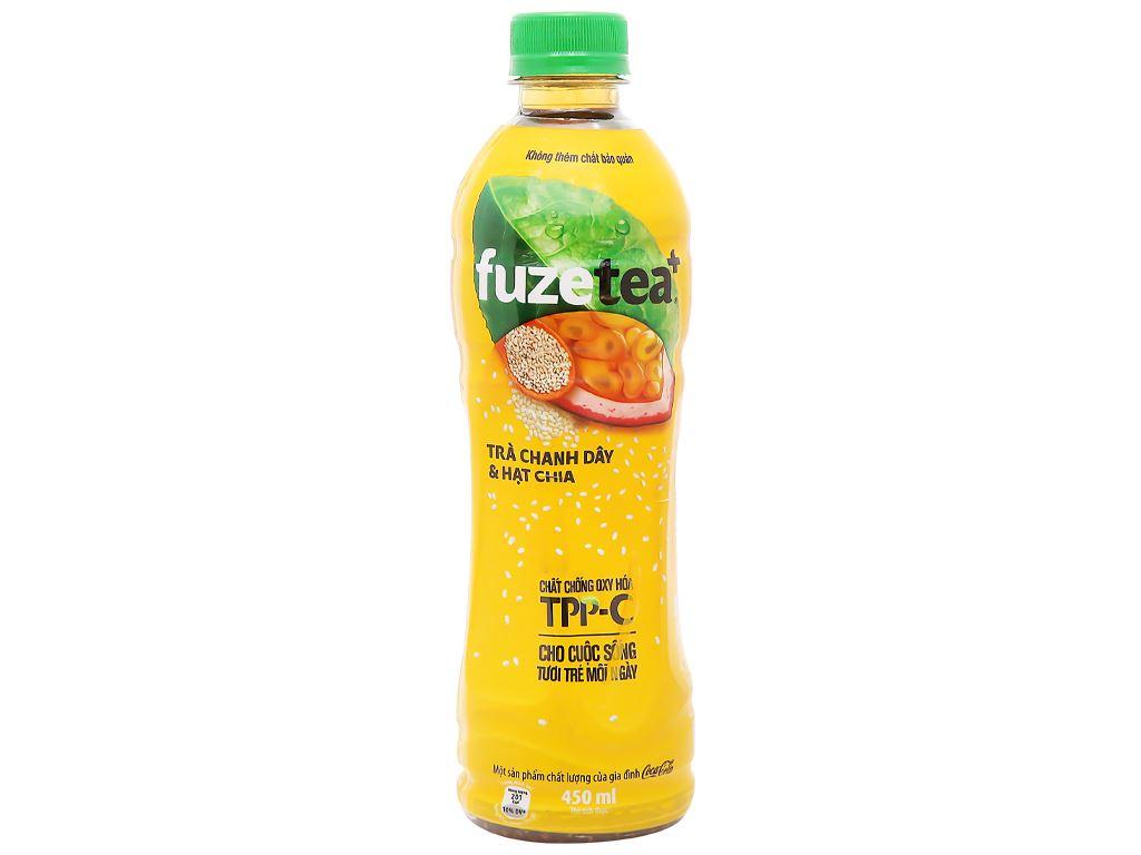Trà chanh dây và hạt chia Fuze Tea 450ml 6
