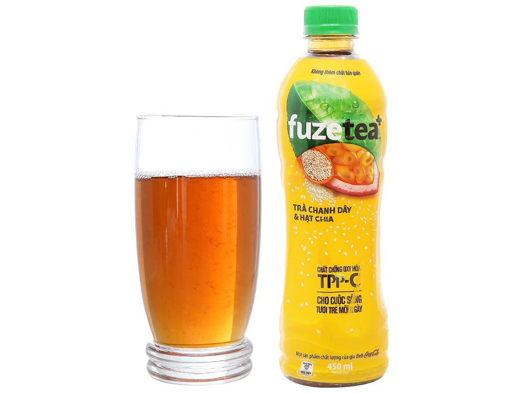 Trà chanh dây và hạt chia Fuze Tea 450ml 12