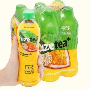 6 chai trà chanh dây và hạt chia Fuze Tea 450ml