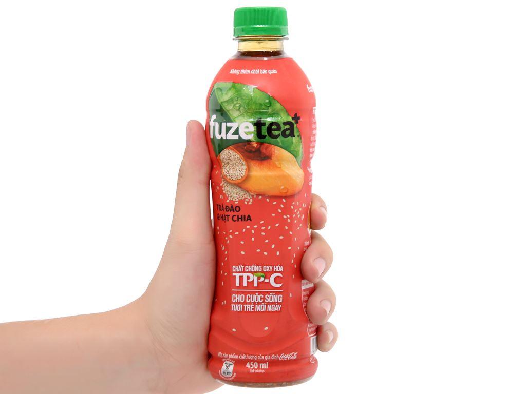 6 chai trà đào và hạt chia Fuze Tea 450ml 13