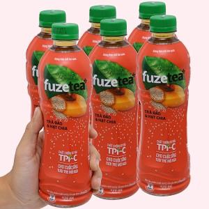 6 chai trà đào và hạt chia Fuze Tea 450ml