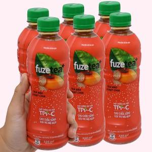 6 chai trà đào và hạt chia Fuze Tea 350ml