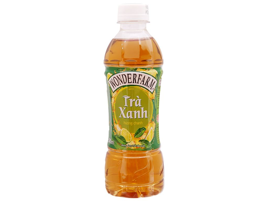 Thùng 24 chai trà xanh Wonderfarm hương chanh 345ml 2