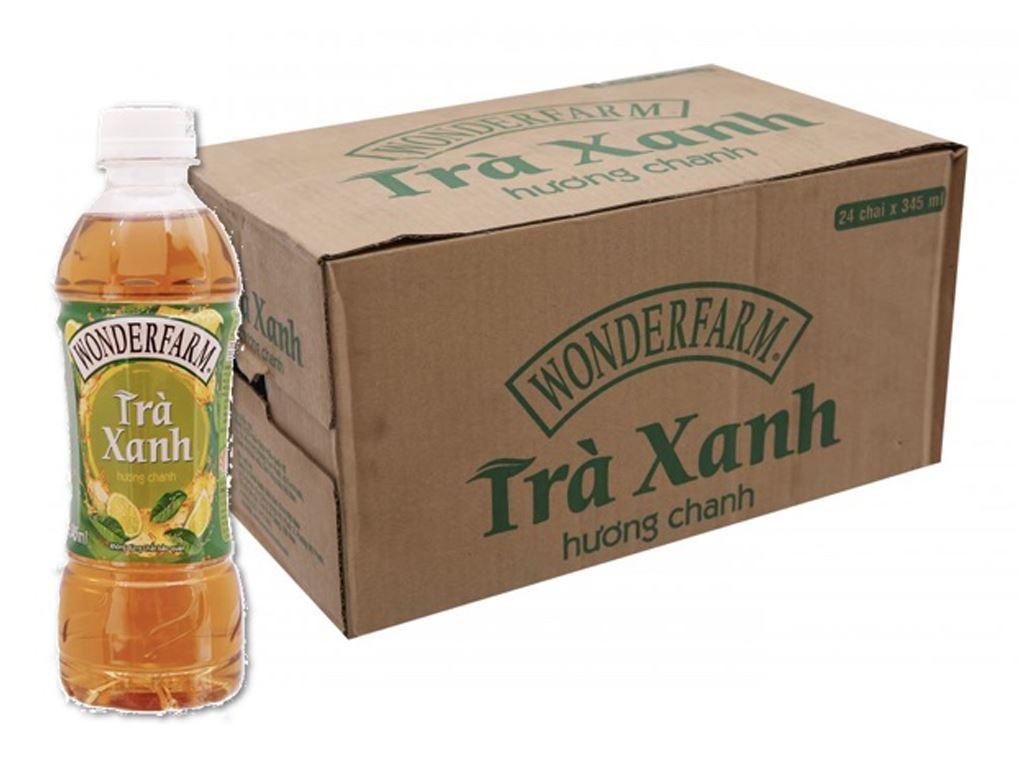 Thùng 24 chai trà xanh Wonderfarm hương chanh 345ml 1