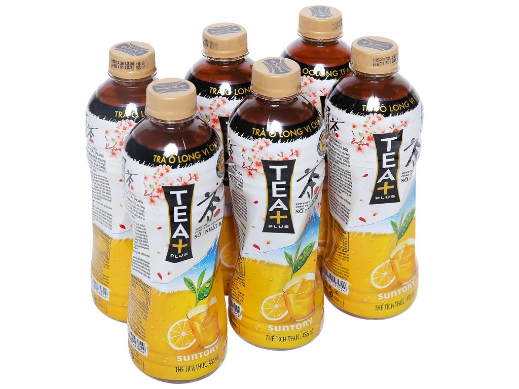 6 chai trà ô long Tea Plus vị chanh 455ml 1