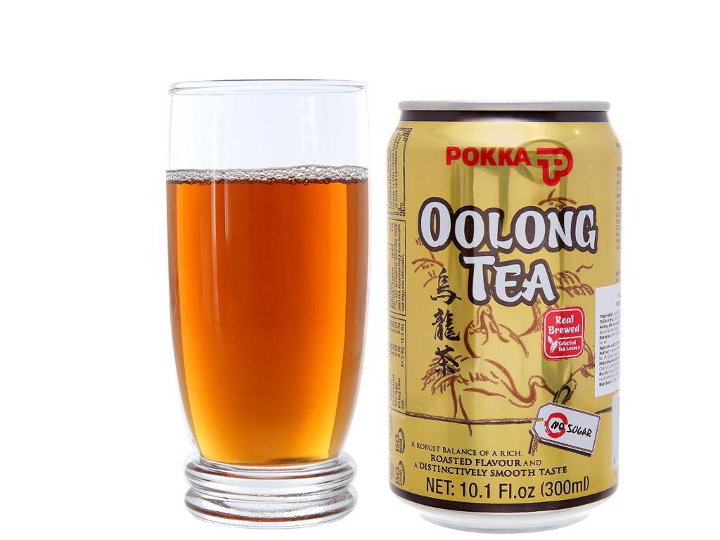 6 lon trà ô long Pokka không đường 300ml 6