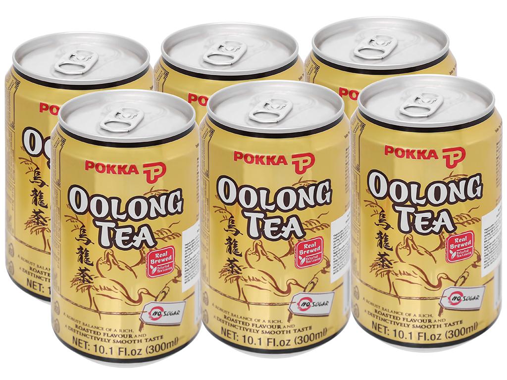 6 lon trà ô long Pokka không đường 300ml 1