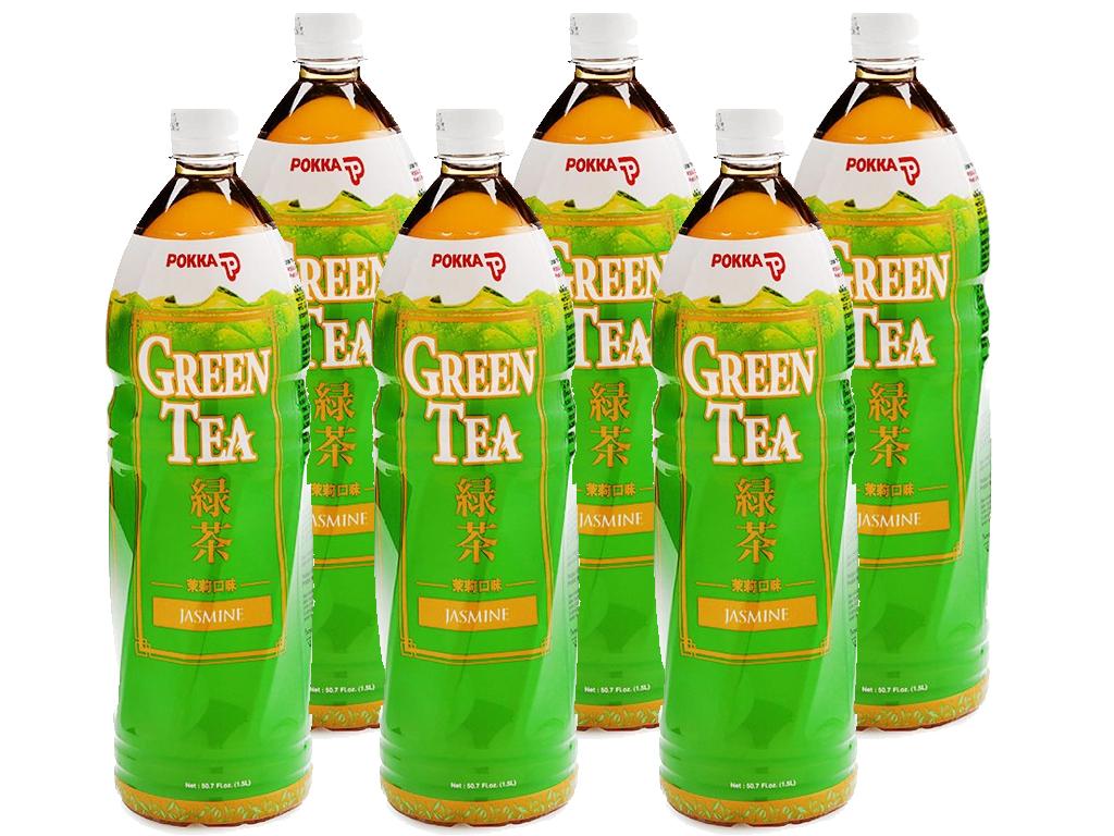 6 chai trà xanh hoa lài Pokka 1.5 lít 1