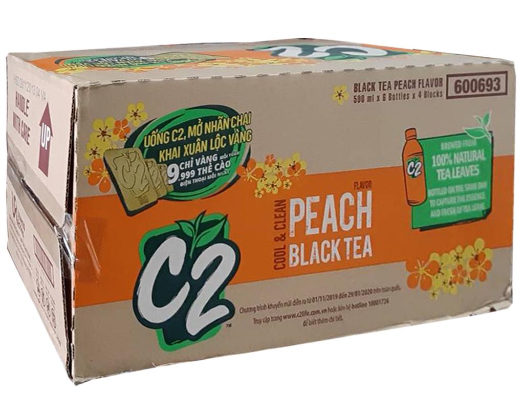 Thùng 24 chai hồng trà đào C2 455ml 1