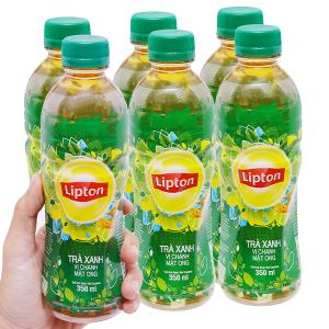 6 chai trà xanh Lipton vị chanh mật ong 350ml