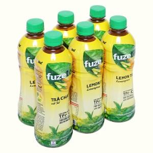 6 chai trà chanh với sả Fuze Tea 450ml