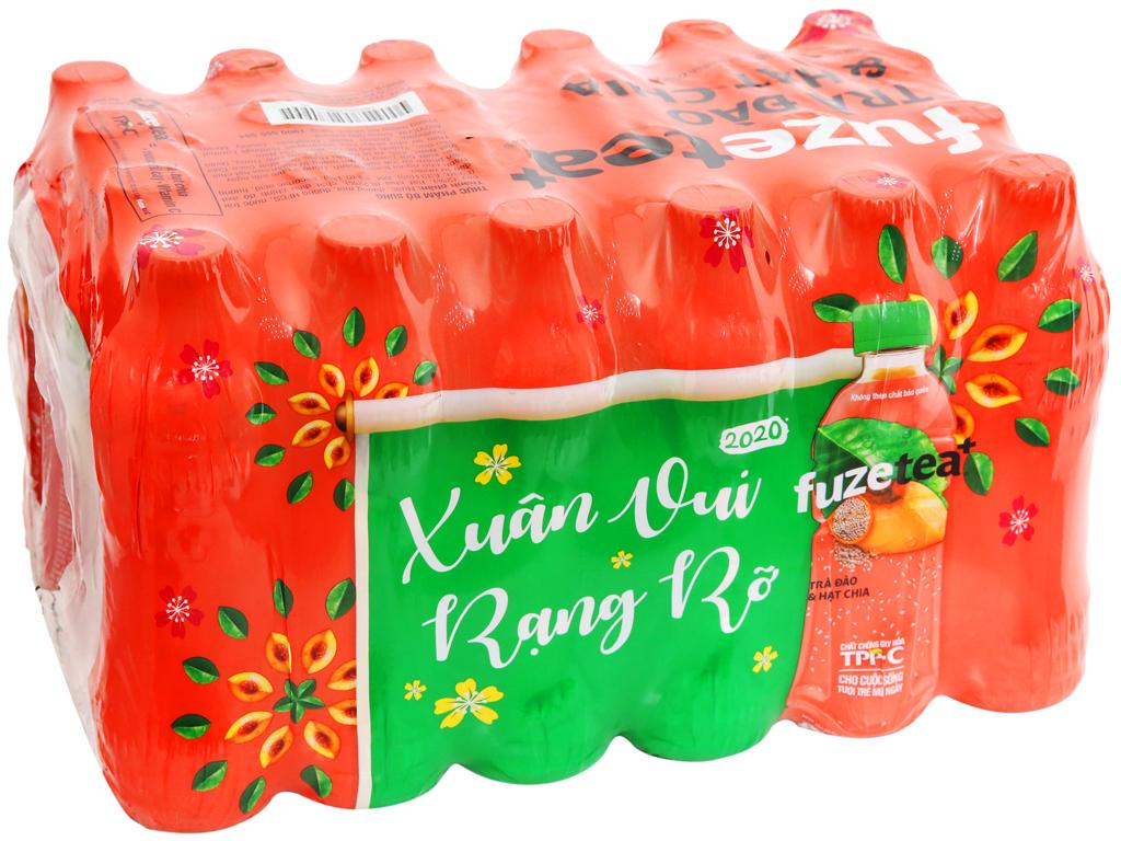 24 chai trà đào và hạt chia Fuze Tea 450ml 7