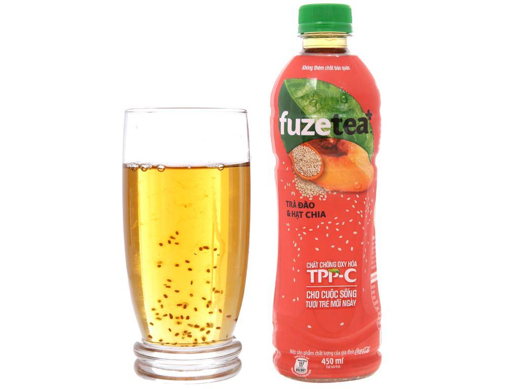 24 chai trà đào và hạt chia Fuze Tea 450ml 15