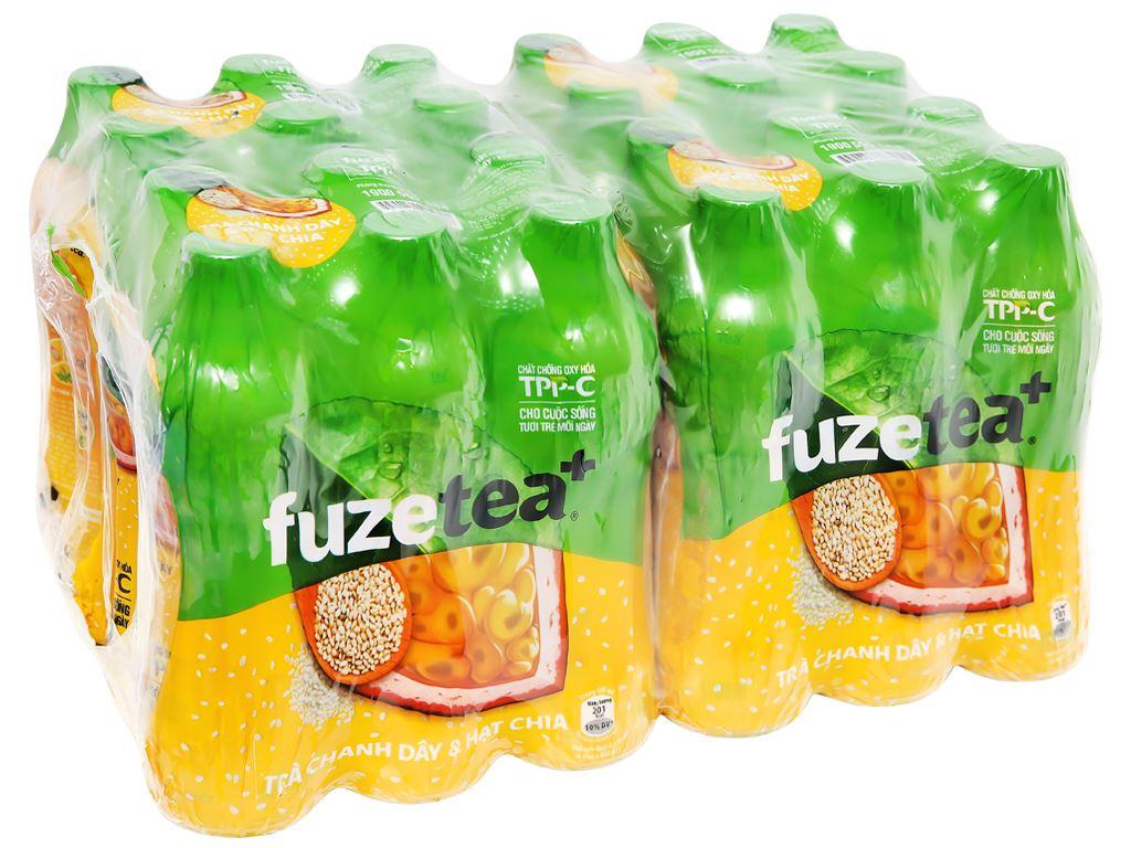 24 chai trà chanh dây và hạt chia Fuze Tea 450ml 7
