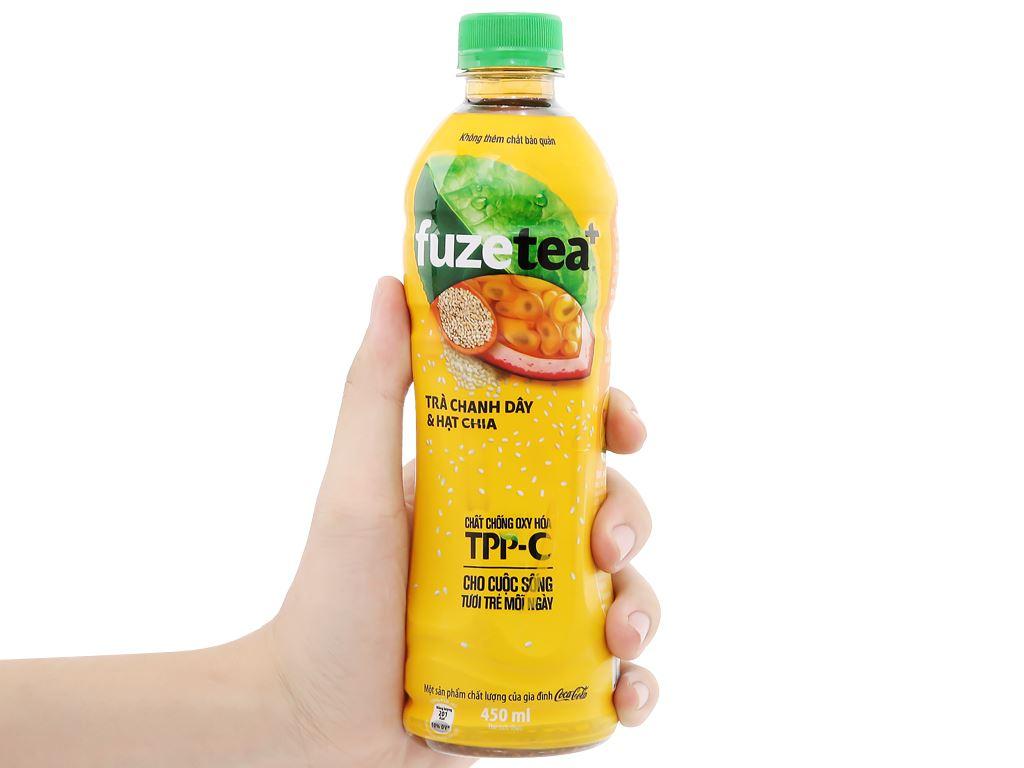 24 chai trà chanh dây và hạt chia Fuze Tea 450ml 13